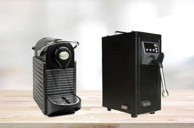coffee pod machine with automatic milk steamer